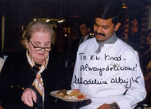 With the former secretary of state Madeleine Albright
